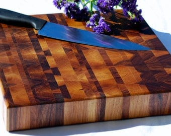 Custom Holiday Present! End Grain Butcher Block WITH HANDLES! Beautiful Designs! Great gift idea!