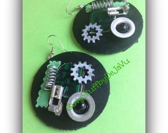 Industrial Art Mixed Media Recycled Denim Jean & Rubber Earrings, large statement, unique handmade OOAK, made in Greece