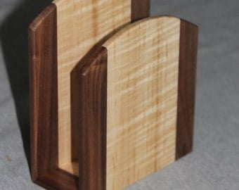 Napkin Holder Handmade out of Walnut and Maple Hardwoods - Free Shipping to USA
