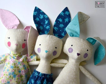 bunny rag doll: Benny or Penny Bunny, Rosey Rag Doll, modern, heirloom