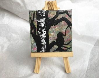 "Handmade Original Acrylic Nature Mood Art- ""At Peace"" Mini Minnesota Painting of Birch Trees and Bird with Mini Easel- Sympathy Gift"