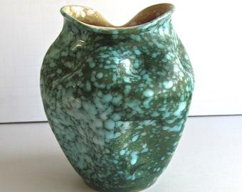 Vintage Crimp Pot, George Orr Style, Splash Glaze, Turquiose Green Pot, Handmade, Wheel Thrown, Unidentified