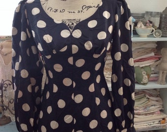 1940s to 50s navy blue polka dot long dress, 1940s party dresses