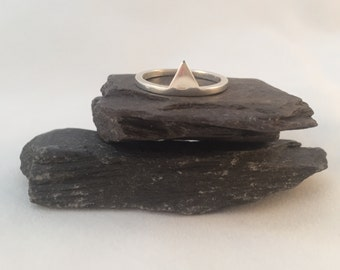 Sterling Silver Ring with Silver Geometric Triangle - Mountain Ring