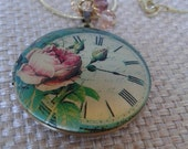 Golden Clock Face with Floral Detail Locket/Charm with Crystals Pendant Necklace with Golden Snake Chain Jewelry
