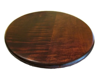 "Tiger Maple Wood Lazy Susan with dark cherry stain.  16"" perfect size for the kitchen table."