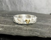 Angel wedding ring wide band - hammered sterling silver ring  with solid gold heart & angel wings