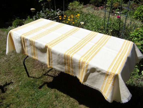 Vintage Woven Tablecloth Mid Century Yellow Heart Stripes Off