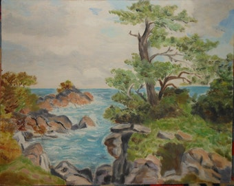 Vintage colorful rocky inlet sea    trees oil painting