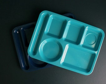 Vintage Texas Ware Cafeteria Serving Trays Set Of 2 School Lunch Blue and Turquiose Melamine Plates
