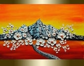 Oil painting white flower Blooming Tree acrylic Heavy Palette Knife.