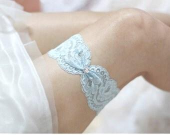 Blue lace Garter, wedding garter,  lace garter, bridal garter, lace keepsake garter, something blue