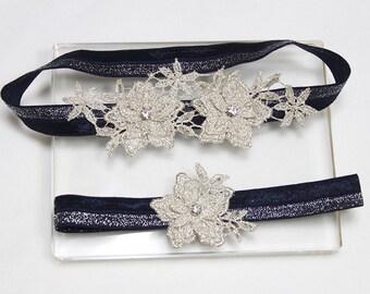 Silver garter set, navy garter set, bridal garter set, wedding garters, wedding garter set, garter set,