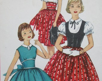 Size 8 Girl's Dress, Weskit, 1957, Simplicity 1976, full skirt, shaped midriff, dainty collar, sleeveless or puffed sleeve, fitted weskit