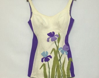 60s DeWeese vintage bathing suit with iris applique