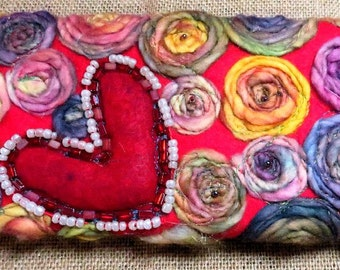 Heart & Rosettes Fiber Art Clutch