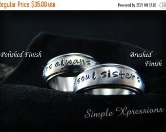 20% OFF - Spinner Ring - Personalized Hand Stamped Spinner Ring with Brushed or Polished Finish
