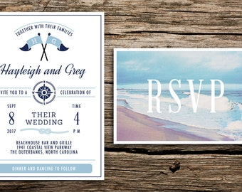 Coastal Wedding Invitation And Postcard RSVP // Beach Wedding Invitation  Light Blue Navy Blue Nautical