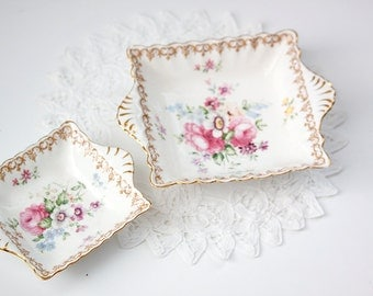 England's Bouquet Staffordshire China, Nesting Trinket Dishes, Bone China Dish