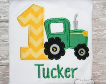 Tractor Themed Birthday Shirt or Bodysuit in Green and Yellow
