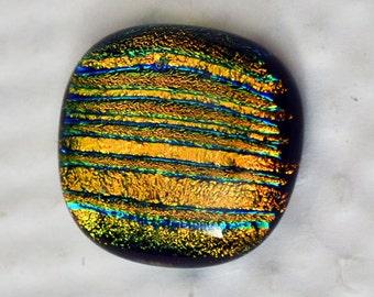 Dichroic Glass Cabochon, Square Cab, 19 mm x 20 mm, Brilliant Gold Colors