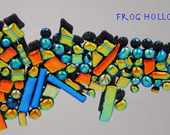 Dichroic Glass Tiles, Bright Electric Colors, Blue, Copper & Gold, Mosaic-Jewelry, Craft Projects