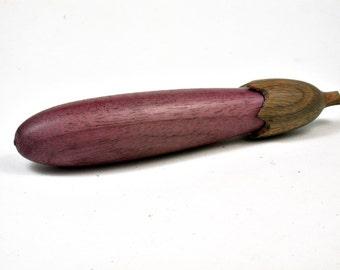 LV-3313  Purpleheart  and  Verawood Eggplant Pill Box, Needle Case, Toothpick Holder-SCREW CAP
