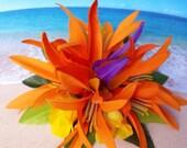 Tropical silk flower hawaiian hair clip (28)