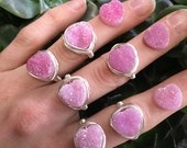 PINK HEART Druzy - wire wrapped ring - any color