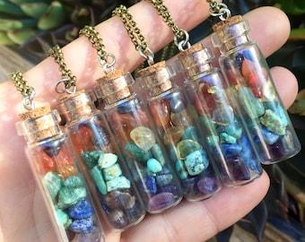 Glass vial CHAKRA Pendant Necklace - Garnet - Carnelian - Citrine - Lapis - Amazonite - Turquoise - Amethyst