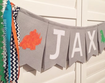 Personalized Name Felt and Fabric Banner with Streamers // Nursery Decor // Birthday Decoration