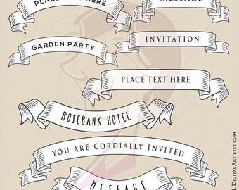 Ribbon Banner Svg Clip Art - Old Fashioned Banners for Wedding Invites, Blog Header, Page Design, and more - FREE Commercial Use 10068