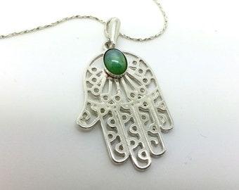 Hamsa Pendant with Green Stone - ID: 71 - 35776