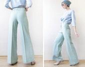 70s vintage mint green blue high waist wide leg straight trousers pants XS