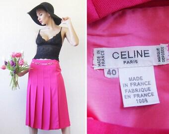 CELINE Paris vintage bright magenta pink high waist knee length pleated pencil midi skirt S