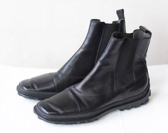 MIU MIU Vintage black leather minimalist chelsea ankle boots Size 40 us 9.5