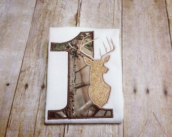 Little Buck First Birthday - Made to Order - Hunter 1st Bday Deer Appliqué Shirt - Onesie, Bodysuit, Burlap, Camo