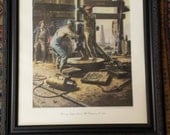 Running Simplex Bit in a Mid-Continent Well circa 1925 Hughes Reaming Cone Bit Artwork Print for Hughes Tool Co Cowan Roughneck Oil Well