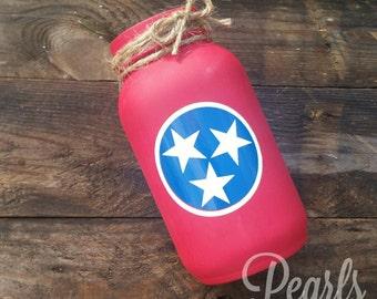 Tennessee Tri Star Mason Jar Vases