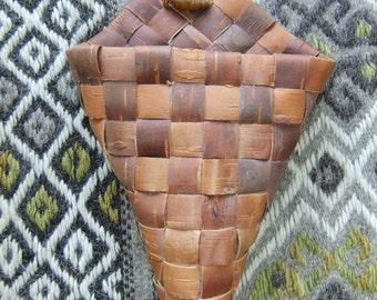 Vintage Swedish Hand made breaded birch bark basket - Cone shaped