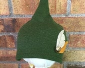 12-24+ Month Green Peter Pan Hat with Button and Two Felt Feathers (DkG-Fe.2) Made from REPURPOSED MATERIAL