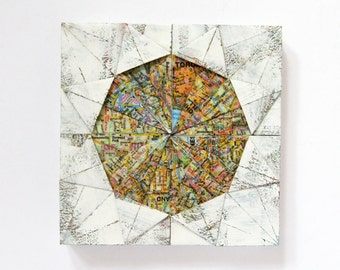 "Origami Panel No10a - White Map Paper Collage on Wood Panel - 6 x 6"" Square Art Tile - Toronto Map Art - Wall Sculpture - World Travel Decor"