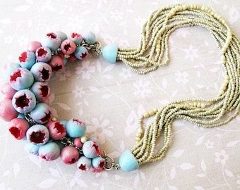 Statement Necklace, Bib Necklace, Beadwork Pink Blue flower buds