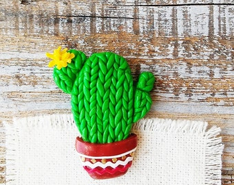 Сactus broochб Cactus tiny Pin, Flower Cactus Brooch, Green Brooch, Nature Botanical Jewelry Pins 3 cm