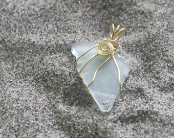 Gold wire wrapped Sea glass charm