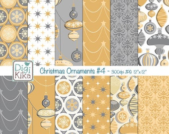 Christmas Ornaments Digital Papers - Gold n Silver Christmas Seamless Pattern - website background, textile print - Instant Dow