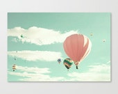 Hot air balloon nursery, coral nursery decor girl nursery decor, Canvas Art, mint nursery wall art, nursery art large art large wall art