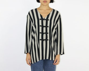Striped Blouse - Long Sleeve BLACK AND WHITE Toggle Closure Top Shirt Rayon Beetlejuice Zebra Bandit Mime Costume Halloween Stripes