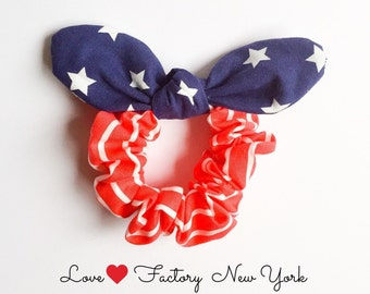 american flag scrunchies bunny ear bow-kawaii bow hair scrunchies-japanese girl chou chou-hair ribbon-hipster-hair tie with bow-Love Factory