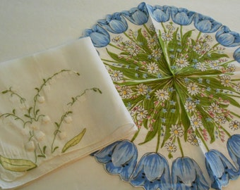 2 vintage floral hankies  tulips lily of the valley
